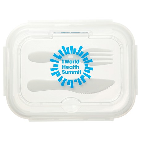 1000ML Glass Food Storage with Utensils, 1022-08-L, 1 Colour Imprint