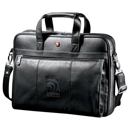 Wenger Executive Leather Business Briefcase, 9350-09, Deboss Imprint