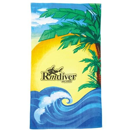 14 lb./doz. Beach Scene Beach Towel, 2090-26 - Tone on Tone Imprint