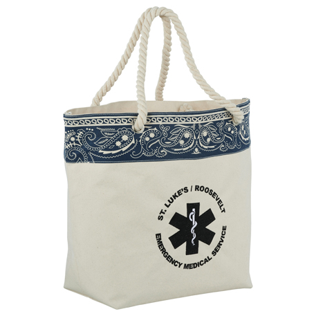 16 oz. Cotton Canvas Americana Bandana Tote, 7900-59 - 1 Colour Imprint