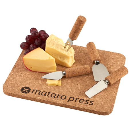 Cork 5 Piece Cheese Serving Set, 1033-55, Laser Engraved