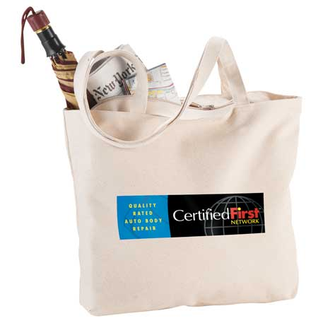 12 oz. Cotton Canvas Zippered Shopper Tote, 7900-46 - 1 Colour Imprint