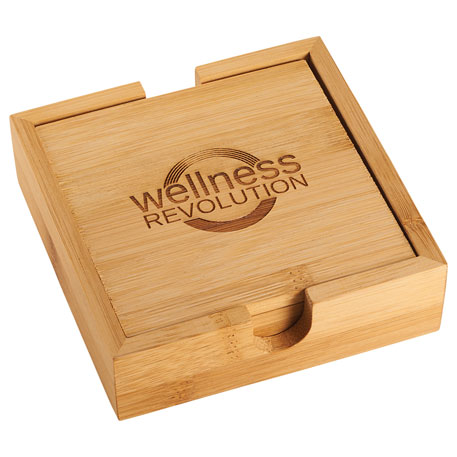 Bamboo Coaster Set, 1450-77 - Laser Engraved Imprint