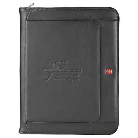 Wenger(R) Executive Leather Zippered Padfolio, 9355-10, Deboss Imprint
