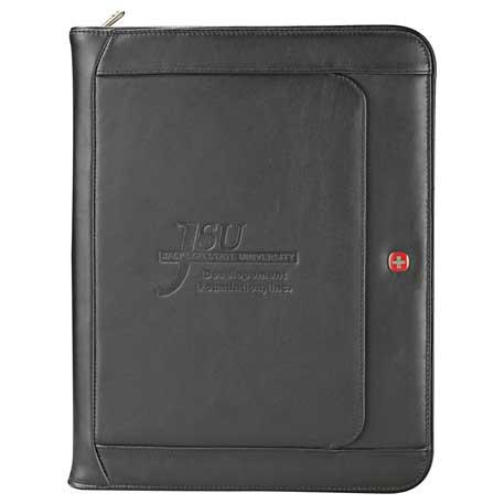 Wenger Executive Leather Zippered Padfolio, 9355-10, Deboss Imprint
