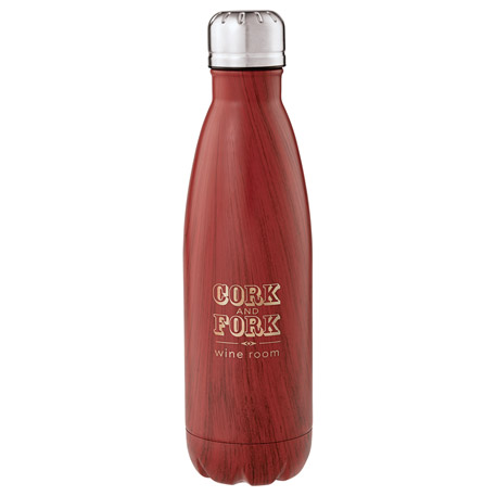 Native Wooden Copper Vacuum Insulated Bottle 17oz, 1625-11 - 1 Colour Imprint