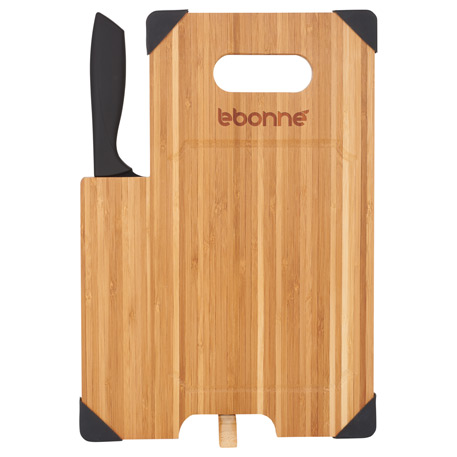 Bamboo Cutting Board with Knife, 1031-49-L, Laser Engraved