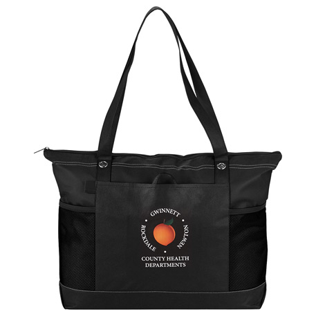 285a9d52857c3a Non-Woven Zippered Convention Tote, 2150-17, 1 Colour Imprint