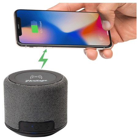 Forward Fabric Speaker with Wireless Charging, 7197-04-L, 1 Colour Imprint