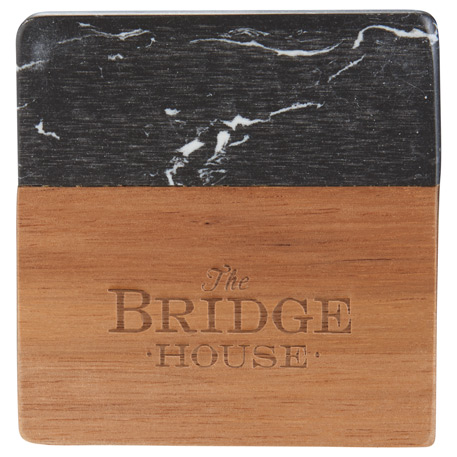 Black Marble and Wood Coaster Set, 1033-65-L, Laser Engraved