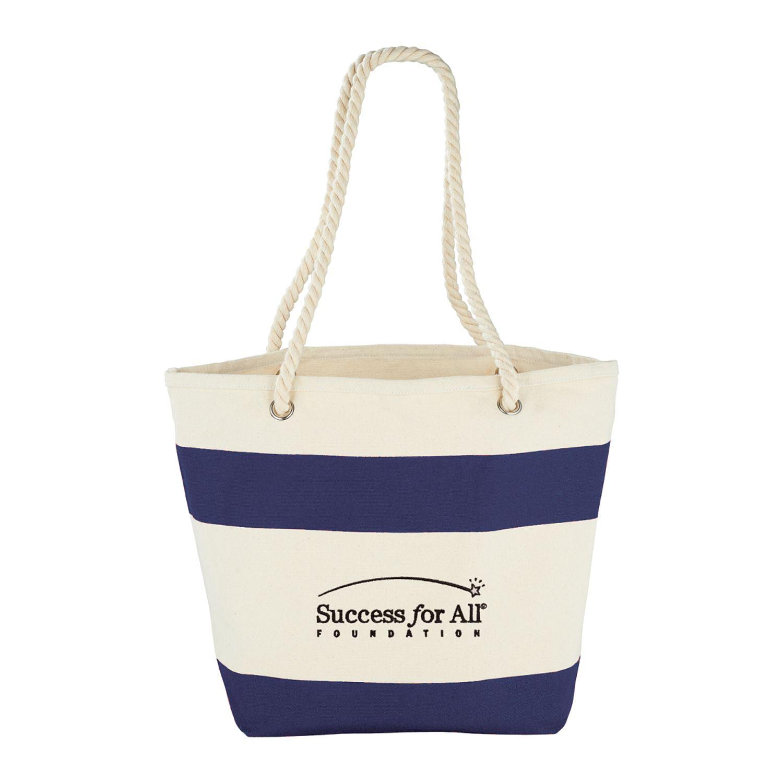 12 oz. Cotton Canvas Capri Stripes Shopper Tote, 7900-40, 1 Colour Imprint