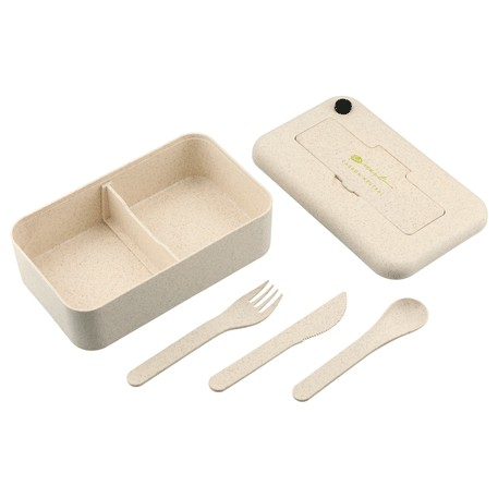 Bamboo Fiber Lunch Box with Utensil Pocket, 1022-14-L, 1 Colour Imprint
