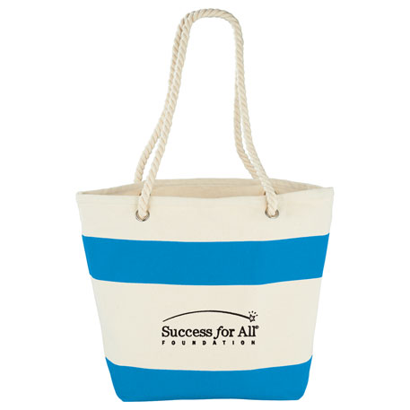 12 oz. Cotton Canvas Capri Stripes Shopper Tote, 7900-40 - 1 Colour Imprint