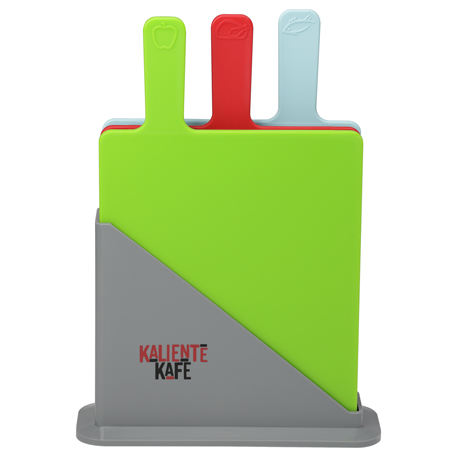 3 Piece Cutting Board Set with Holder, 1033-48, 1 Colour Imprint