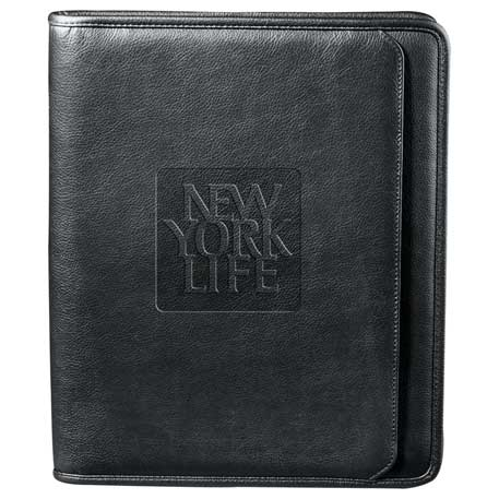 Manhattan Zippered Padfolio, 9200-10, Deboss Imprint