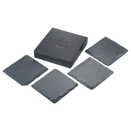 Laguiole Black Slate Coaster Set, 1250-43, Deboss Imprint