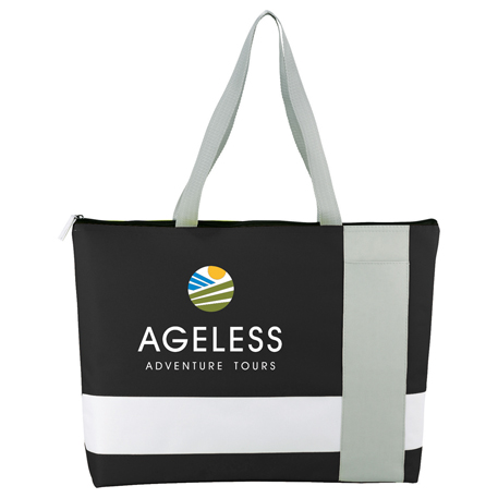 Tri Block Zippered Business Tote, 2301-25 - 1 Colour Imprint