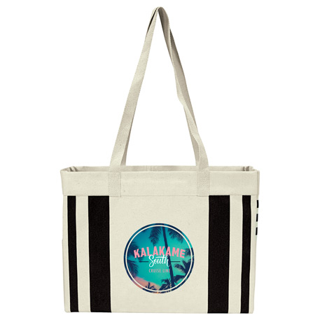 Fletcher 16oz Cotton Canvas Striped Tote, 7900-17, 1 Colour Imprint