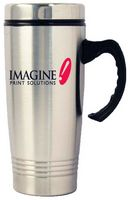 16 Oz. Stainless Steel Travel Mug w/Plastic Interior & Ringed Bottom