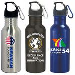 Custom 22 Oz. Wide Mouth Stainless Steel Water Bottle with Carabiner