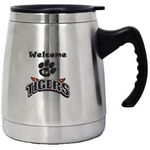 16 Oz. Brushed Double Stainless Steel Wide Base Travel/Desk Mug