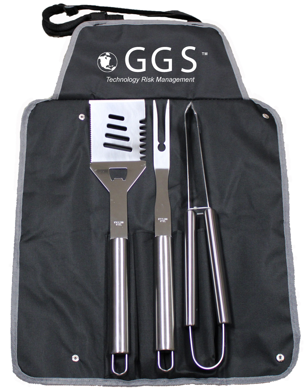 4 Piece BBQ Set with Stainless Steel Tools and Apron