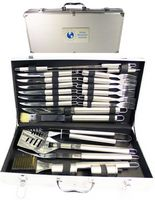 24 Piece Stainless BBQ Tool Set in Aluminum Case
