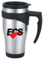 16 Oz. Stainless Steel Travel Mug w/ Plastic Interior & Angled Open Handle