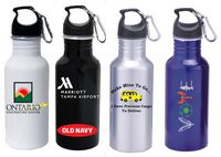 22 Oz. Aluminum Wide Mouth Water Bottle w/ Carabiner