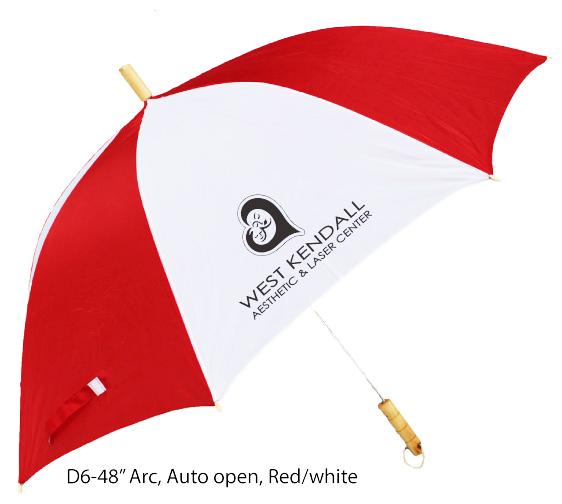 """Auto open & red/white umbrella - 48"""" Arc"""
