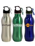 Custom 20 Oz. Stainless Steel Contoured Water Bottle w/ Wide Mouth & Carabiner