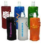 Custom Plastic foldable water bottle with sip thru lid, 22 oz