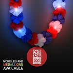 Custom Red, White & Blue LED Hawaiian Lei with Custom Red Medallion - Domestic Imprint