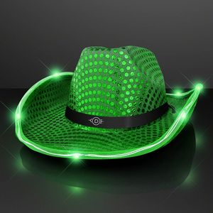 Green Sequin Cowboy Hat w Jade LED Brim - 11832-GN-5 - IdeaStage  Promotional Products 70210568cf0c