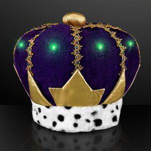 Custom Light Up Mardi Gras King Crown Hat
