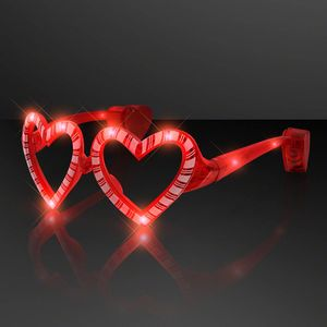 Holiday Hearts Light Up Candy Cane Glasses - BLANK