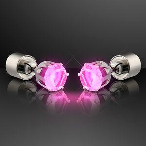 Custom LED Faux Pink Diamond Pierced Earrings