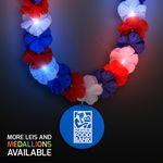 Custom Red, White & Blue LED Hawaiian Lei with Custom Blue Medallion - Overseas Imprint