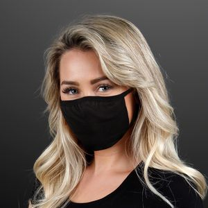Custom Black Cloth Medium Reusable Face Mask - BLANK