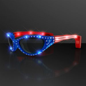 USA Stars & Flag Stripes LED Flashing Sunglasses