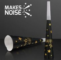 """Happy New Year"" Paper Horns, 6pack NON-Light Up Noisemakers"