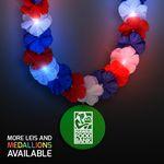 Custom Red, White & Blue LED Hawaiian Lei with Custom Green Medallion - Overseas Imprint