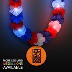 Custom Red, White & Blue LED Hawaiian Lei with Custom Orange Medallion - Overseas Imprint