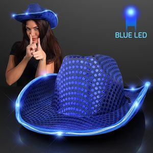 e4a3fee02 Blue Cowboy Hat w Blue Lights Brim - 11832-BL - IdeaStage Promotional  Products