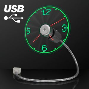 Custom USB Powered LED Light Clock Desk Fan