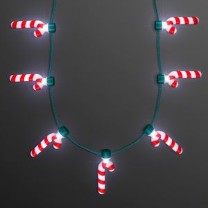 Custom Candy Cane Lights Christmas Party Necklace - BLANK