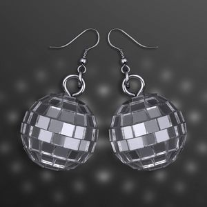 Custom Silver Disco Ball Pierced Earrings, in Pairs (Non-Light Up)