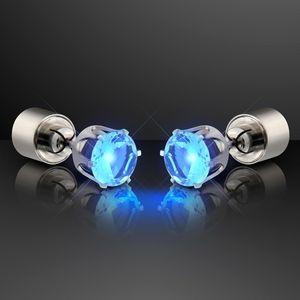 Custom Blue LED Faux Sapphire Pierced Earrings