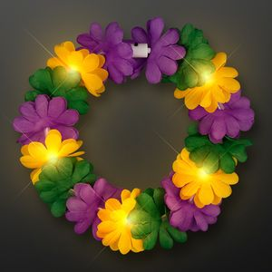 Custom Light Up Mardi Gras Flower Crown Headband