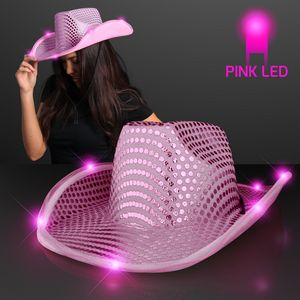 Pink Sequin Cowboy Hats w Pink LED Brim - 11832-PK - IdeaStage Promotional  Products 7a9d0d260b36